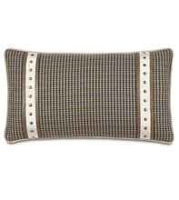 "Beige Brown Houndstooth Mountain Lodge Studded Lumbar Pillow 15""x26"""