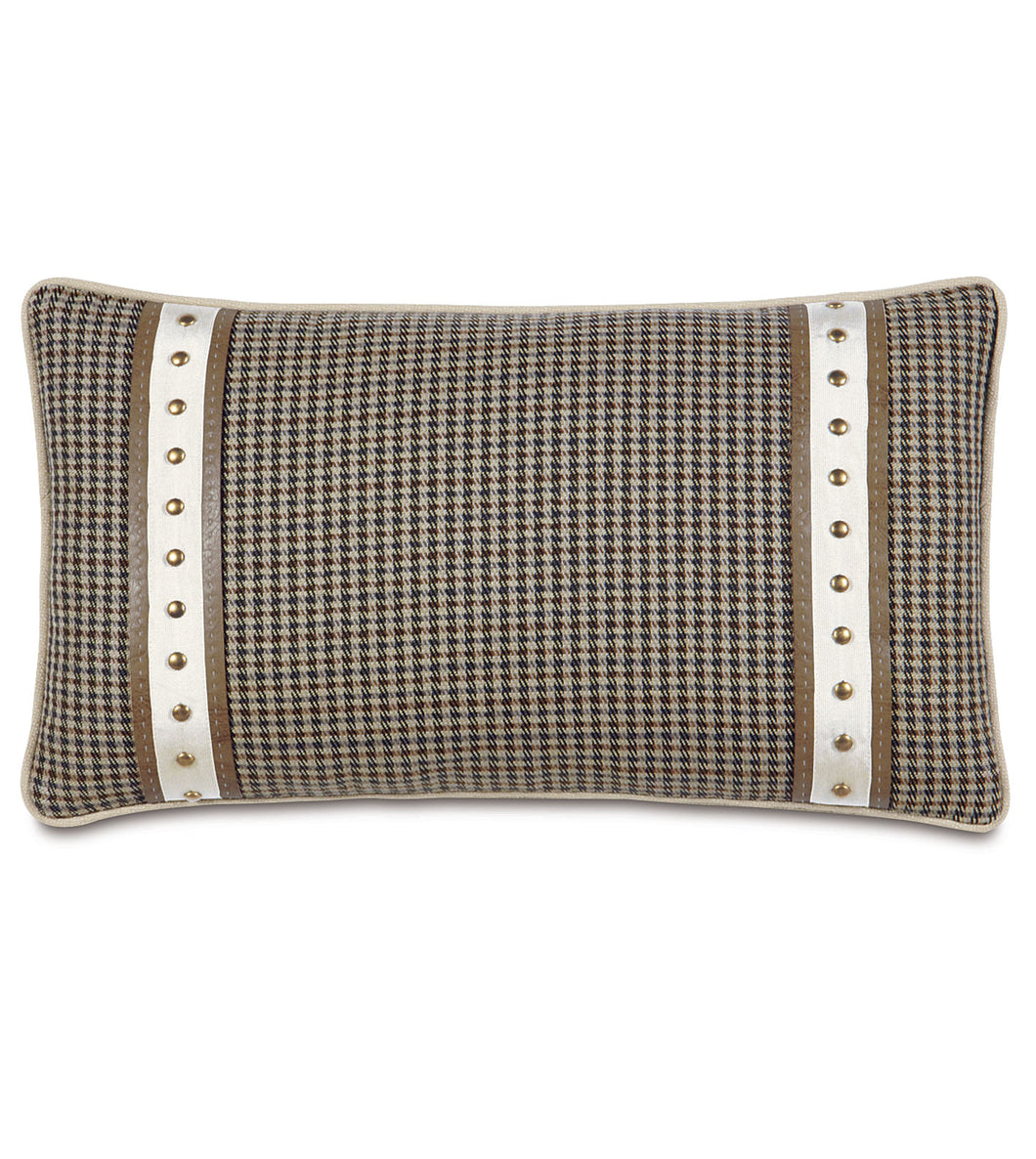 Beige Brown Houndstooth Mountain Lodge Studded Lumbar Pillow 15