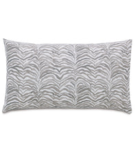 "Amara Warm Gray Log Cabin Abstract Cotton Lumbar Pillow Knife Edge 15""x26"""