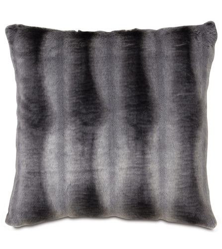 Oversized Dark Gray Mountain Resort Faux Fur Throw Pillow Knife Edge 27