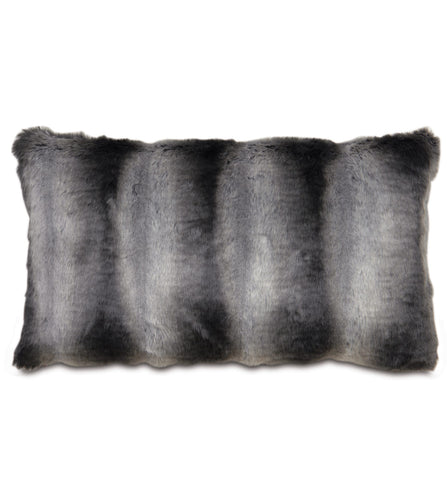 Dark Gray Mountain Resort Faux Fur Lumbar Pillow Knife Edge 15