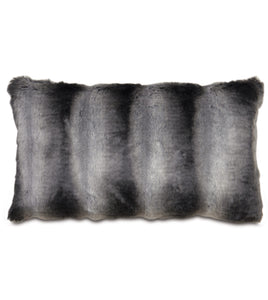 "Dark Gray Mountain Resort Faux Fur Lumbar Pillow Knife Edge 15""x26"""