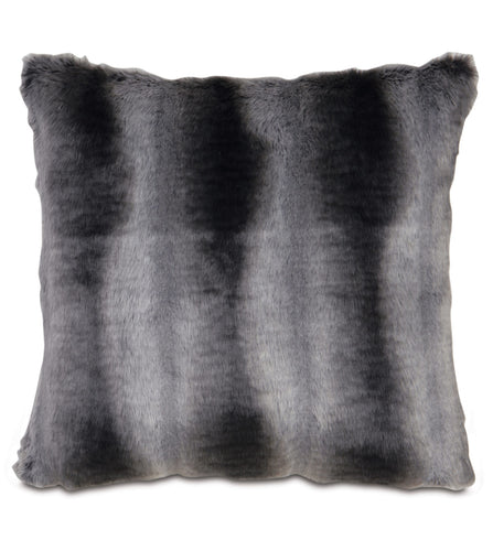Dark Gray Mountain Resort Faux Fur Throw Pillow Knife Edge 20