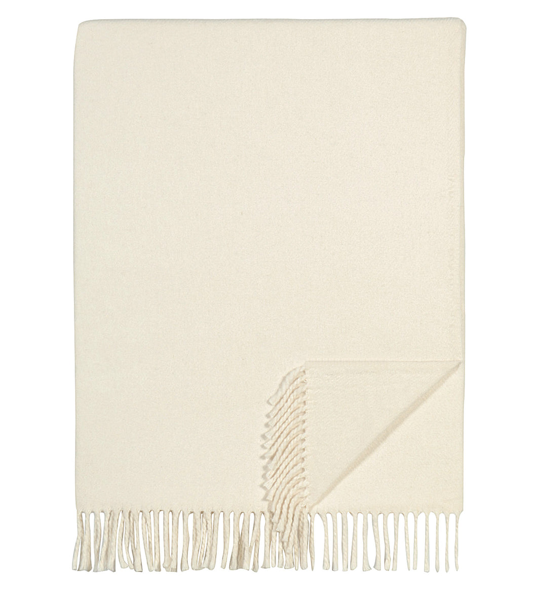 Cream Solid Rustic Blanket with Tassels