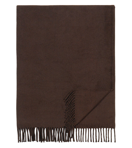 Chocolate Brown Solid Rustic Blanket with Tassels