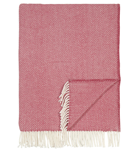 Salmon Herringbone Rustic Throw with Fringe
