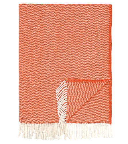 Coral Herringbone Rustic Throw with Fringe