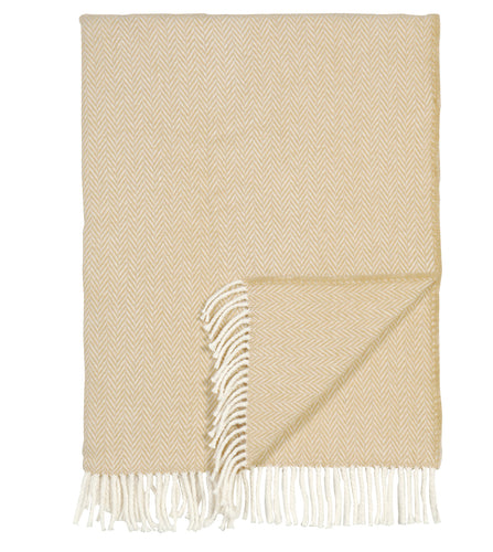 Cream Herringbone Rustic Throw with Fringe