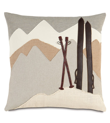 Ski Lodge Resort Beige Throw Pillow Applique 20