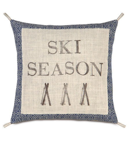 Ski Season Mountain Lodge Champagne Burlap Throw Pillow Block Printed 20
