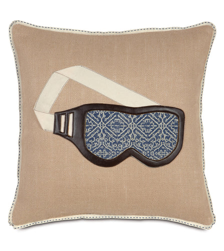 Ski Goggles Tan Burlap Lodge Resort Throw Pillow Applique 18