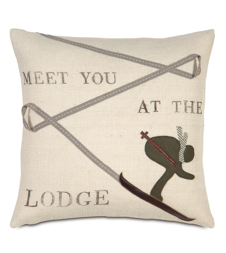 Zigzag Ski Champagne Rustic lodge Burlap Throw Pillow Block Printed Knife Edge 18