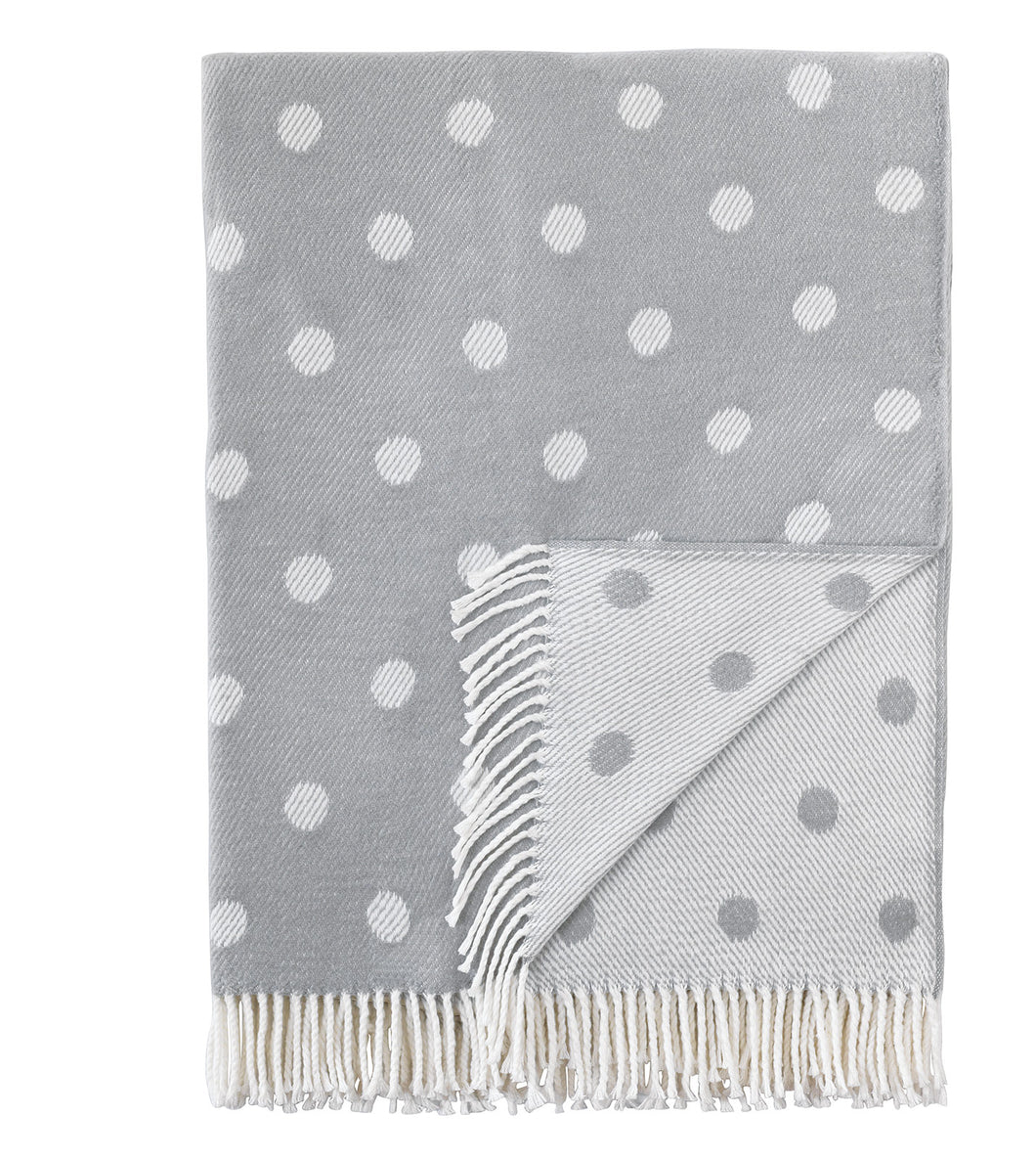 Light Gray Polka Dot Rustic Throw with Fringe
