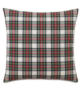 "Red and Green Lodge Scottish Clan Tartan Throw Pillow Knife Edge 22""X22"""
