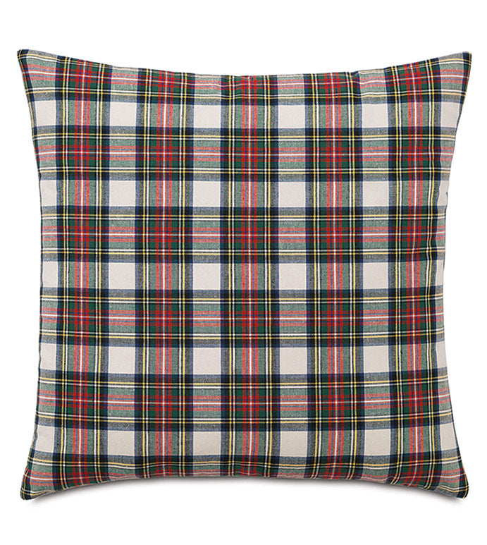 Red and Green Lodge Scottish Clan Tartan Throw Pillow Knife Edge 22