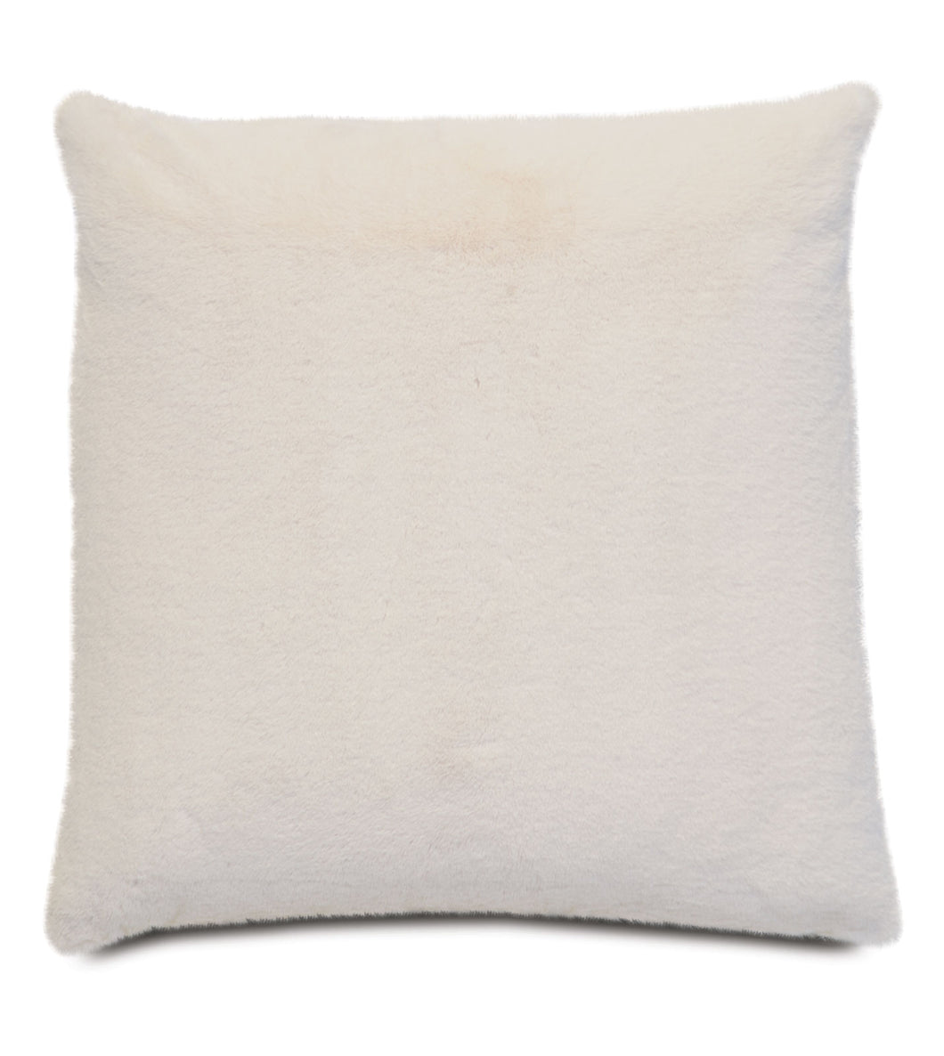 Ivory Lodge Solid Faux Fur Knife Edge Lumbar Pillow