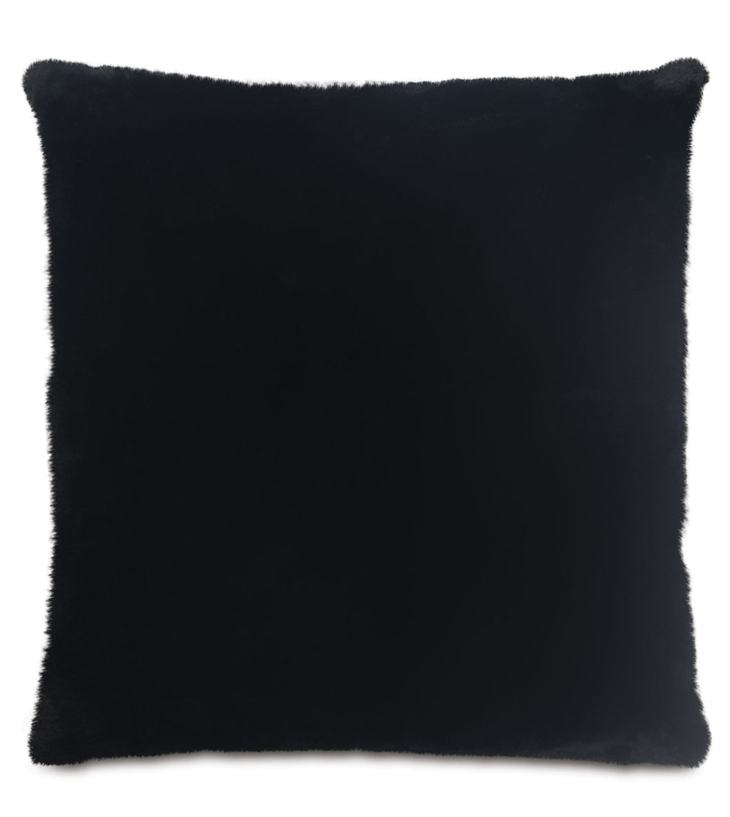 Onyx Lodge Solid Faux Fur Knife Edge Lumbar Pillow