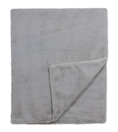 Light Gray Solid Rustic Faux Fur Throw