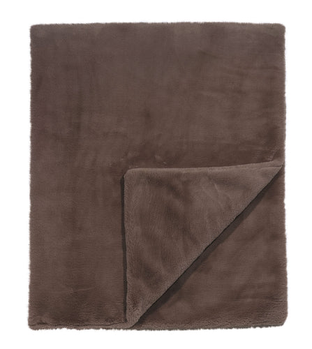 Chocolate Brown Solid Rustic Faux Fur Throw