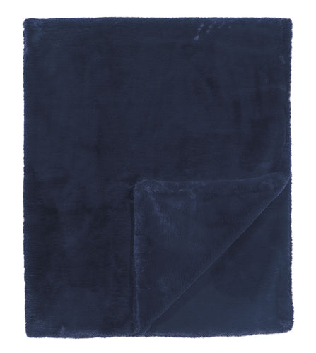 Navy Solid Rustic Faux Fur Throw