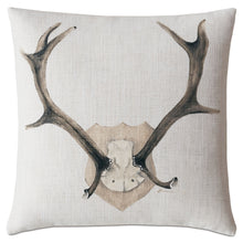 "Mounted Antlers Luxe Mountain Throw Pillow Hand Painted 20""x20"""