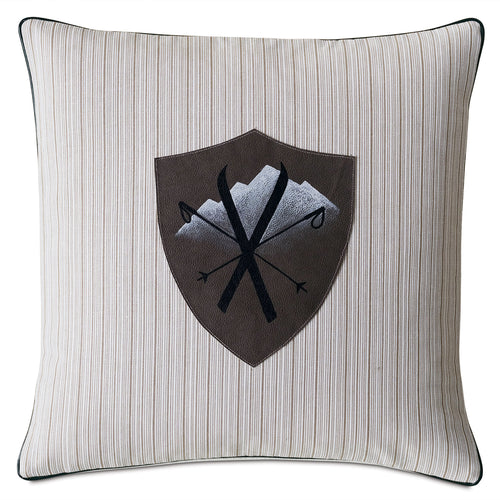 Ski Badge Luxe Mountain Throw Pillow Hand Painted 20