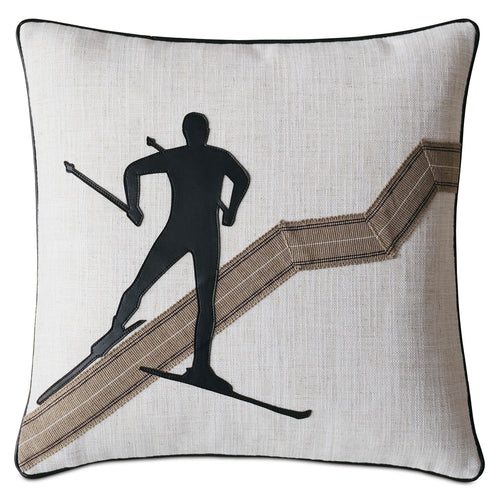 Downhill Skiing Luxe Mountain Throw Pillow Lasercut 18