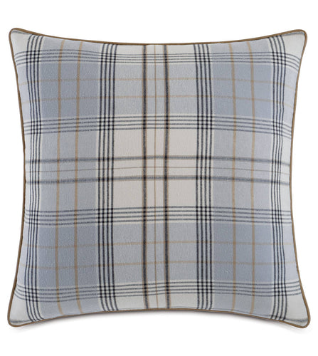 Blue Gray Magnus Steel Log Cabin Plaid Euro Sham With Welt 27