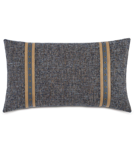 Arthur Applique Knife Edge Accent Pillow in Warm Gray 15