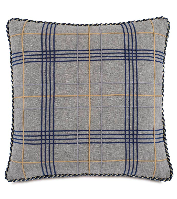 Arthur Gray Lodge Plaid Cord Textured Throw Pillow 22
