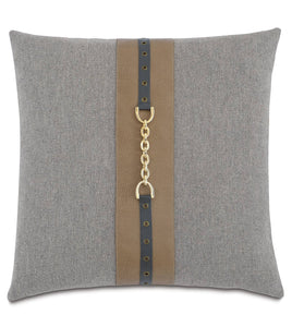 "Arthur Modern Solid Cotton Accent Pillow in Slate Gray 20""x20"""
