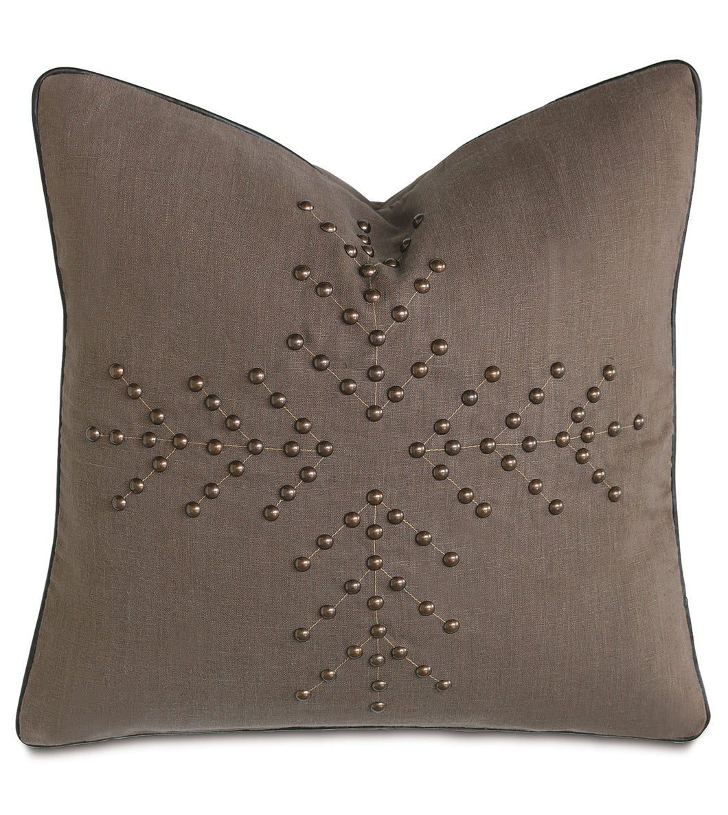 Linen Mountain Lodge Studded Geometric Throw Pillow 20