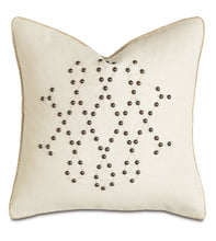 "Ivory Mountain Lodge Studded Geometric Linen Throw Pillow 20""x20"""