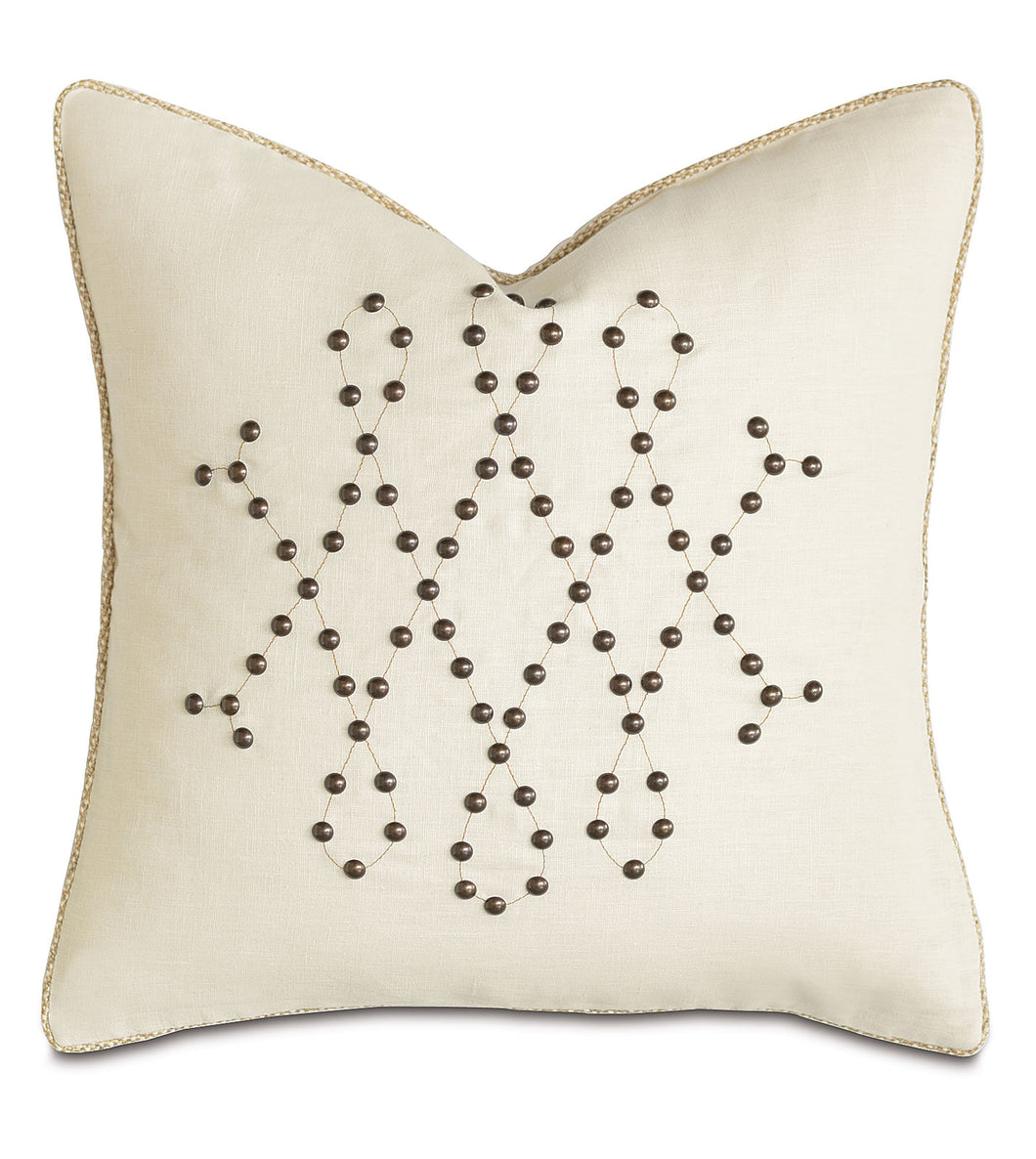Ivory Mountain Lodge Studded Geometric Linen Throw Pillow 20