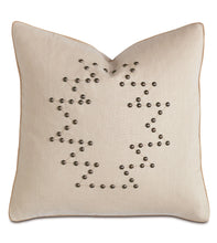 "Champagne Linen Mountain Cabin Geometric Studded Throw Pillow 20""x20"""