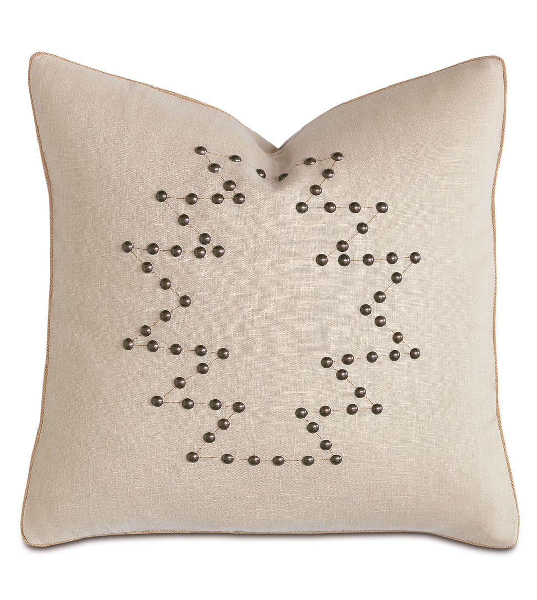 Champagne Linen Mountain Cabin Geometric Studded Throw Pillow 20