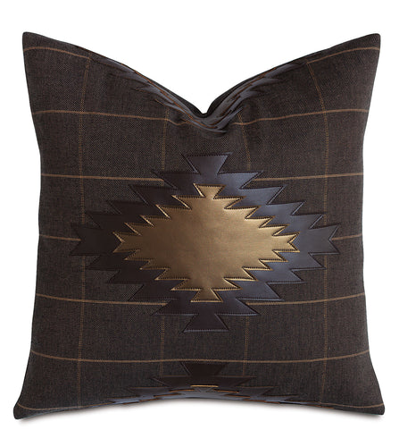 Mocha Faux Leather Mountain Lodge Plaid Throw Pillow Applique 20