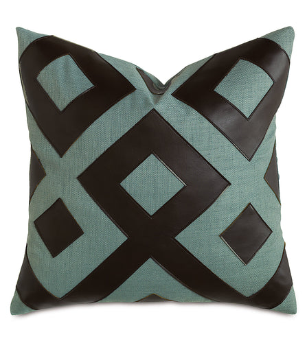 Blue Brown Mountain Resort Geometric Faux Leather Throw Pillow Knife Edge 20