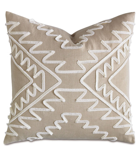 Textured Brush Fringe Neutral Linen Tribal Throw Pillow Knife Edge 22