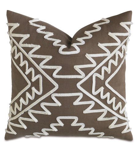 Textured Brush Fringe Brown Linen Tribal Throw Pillow Knife Edge 22