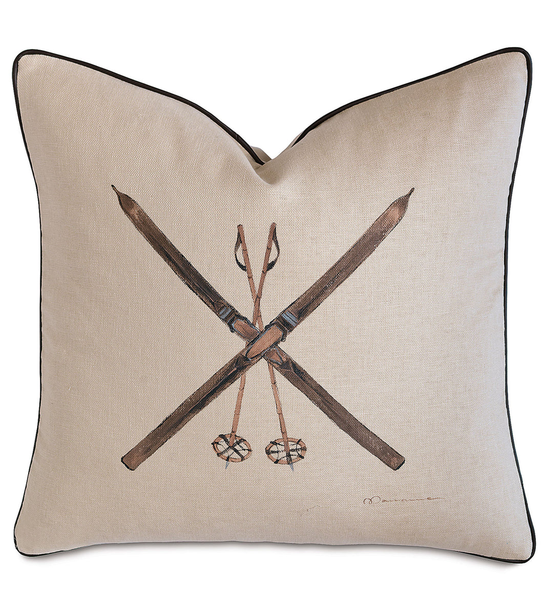 Ski Luxe Mountain Throw Pillow Hand Painted 22