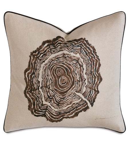 Tree Trunk Rings Rustic Lodge Hand Painted Throw Pillow  20