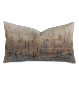 "Hand Painted Forest Rustic Mountain Lumbar Pillow  15""x26"""