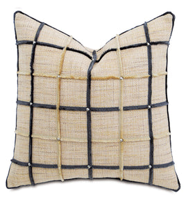 "Champagne Mountain Resort Studded Geometric Throw Pillow 22""x22"""