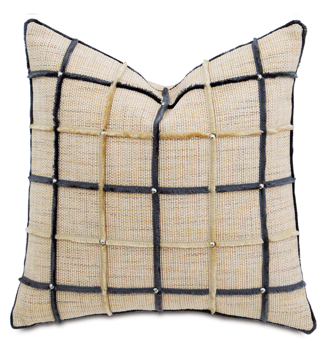 Champagne Mountain Resort Studded Geometric Throw Pillow 22