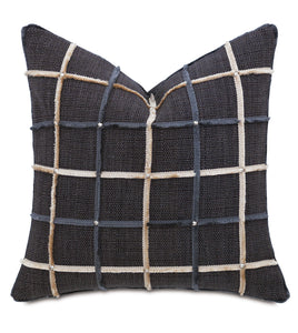 "Charcoal Rustic Lodge Studded Check Throw Pillow With Brush Fringe 22""x22"""