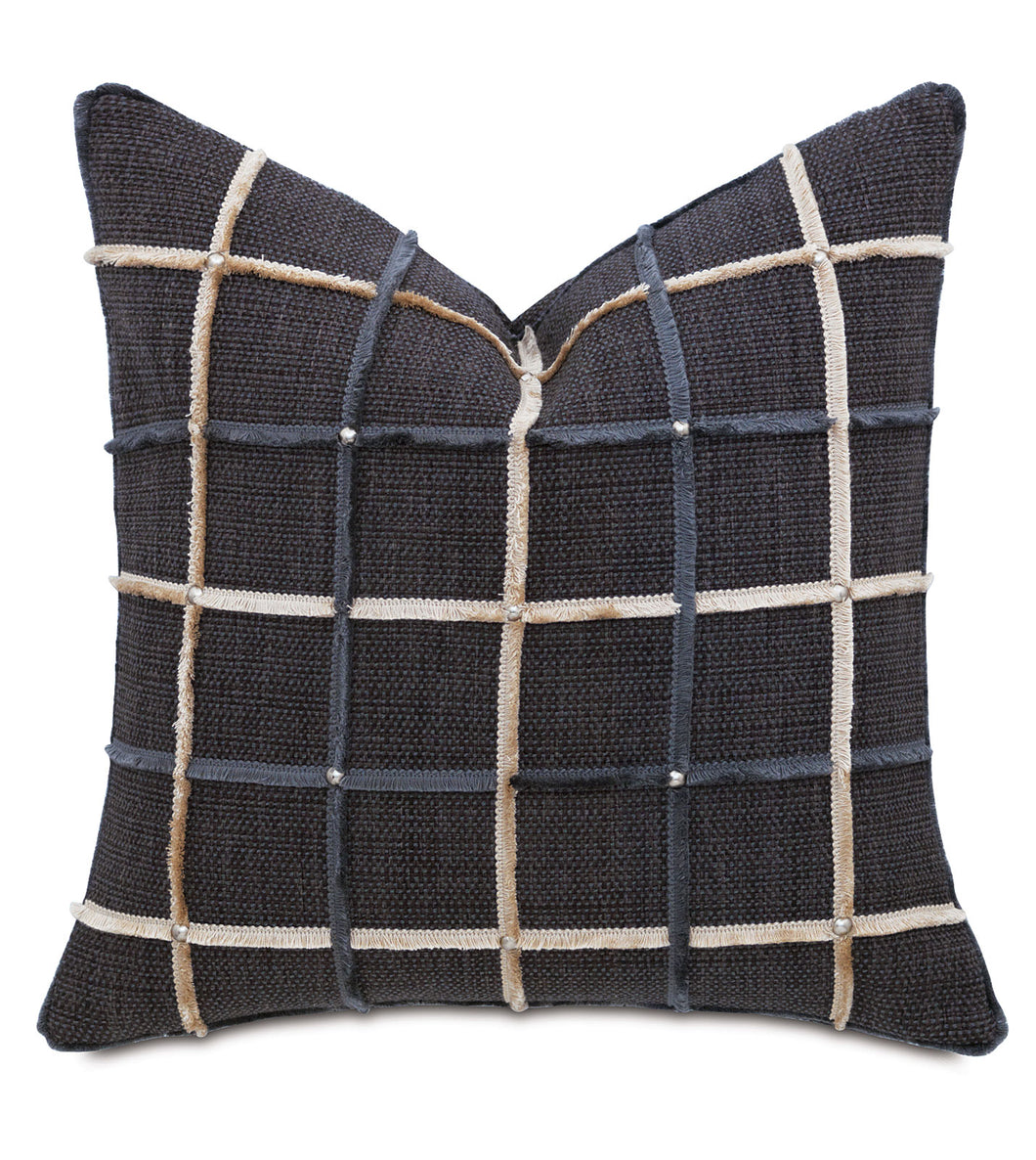 Charcoal Rustic Lodge Studded Check Throw Pillow With Brush Fringe 22