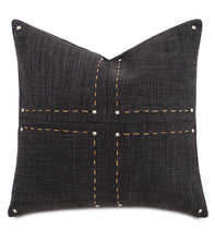 "Charcoal Lodge Geometric Studded Throw Pillow With Hand Stitch 22""x22"""