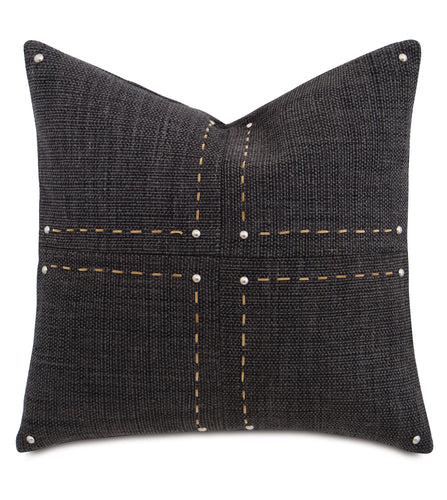Charcoal Lodge Geometric Studded Throw Pillow With Hand Stitch 22