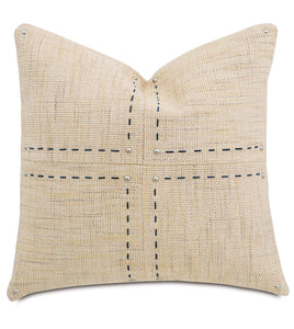 "Champagne Mountain Resort Geometric Studded Throw Pillow Hand Stitched 22""x22"""